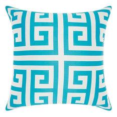 "Nourison Greek Key Poly Outdr Turquoise Pillow 20"" x 20"""