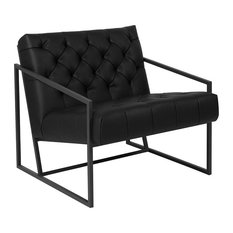Hercules Madison Series Black Leather Tufted Lounge Chair