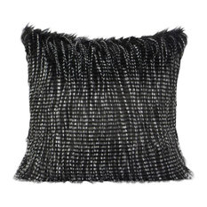 """Black and White Two Tone Faux Fur Pillow, 22""""x22"""", Down Feather"""