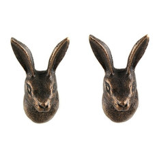 Set of 4 Metal Rabbit Head Cabinet Knob in Antique Brass Finish