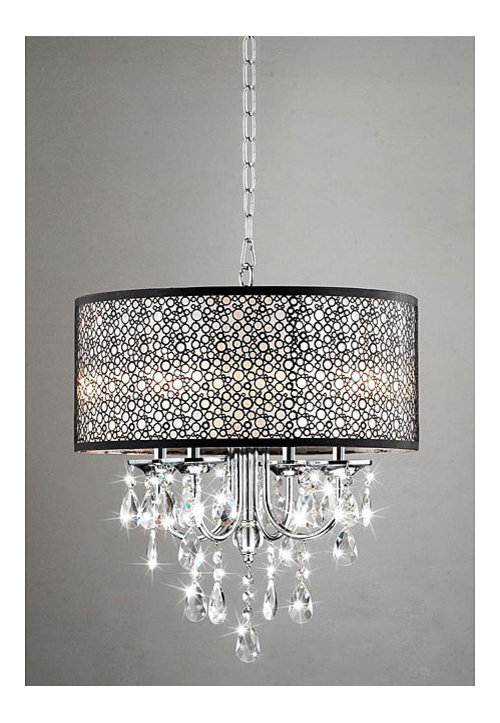Indoor 4 Light Chrome Crystal Metal Bubble Shade Chandelier More Info