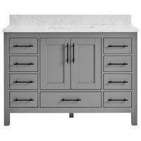 "Kendall Gray Bathroom Vanity, 48"", Vanity With Carrara Marble Top"
