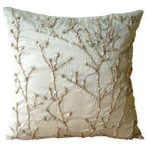 Jute Willow Ivory Art Silk 30x30 Decorative Cushion Covers, Jute Willow