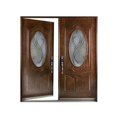 """Left Hand Swinging Double Wood Front Entry Door, 36-36""""x80"""""""