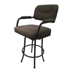 Swivel Counter Stool Sanora Brown Brown Metal Frame 26-inch