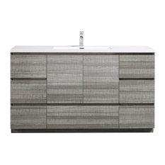 "Moa 60"" Single Bathroom Vanity With 7 Drawers & Acrylic Sink, Gloss Ash Gray"