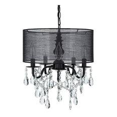 5-Light Crystal Plug-In Chandelier With Cylinder Shade, Black, Luna Collection