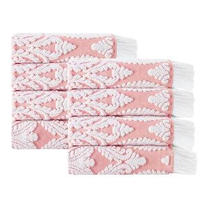 Laina 8-Piece Turkish Cotton Hand Towel Set, Pink