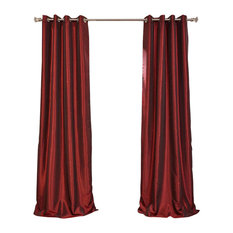 "Ruby Grommet Blackout Vintage Textured Faux Silk Dupioni Single Panel, 50""x96"""