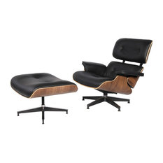 Modern Mid-Century Plywood Lounge Chair and Ottoman Italian Leather, Black/Walnu
