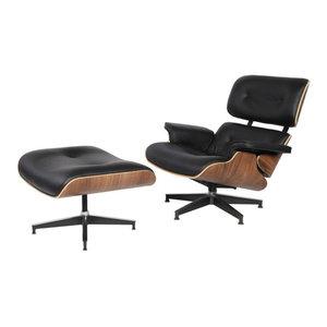 Modern Mid-Century Plywood Lounge Chair and Ottoman Italian Leather, Black/Walnu