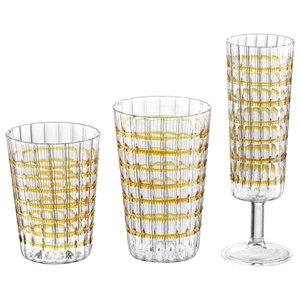 Varying Glasses, Set of 18, Amber