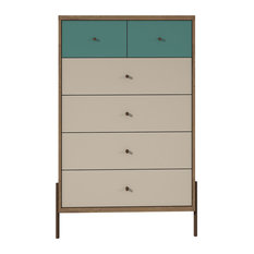 Modern Industrial Tall Dresser, 6 Drawers and Chrome Lifted Feet, Blue