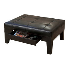 GDF Studio Tucson Black Leather Storage Ottoman Coffee Table