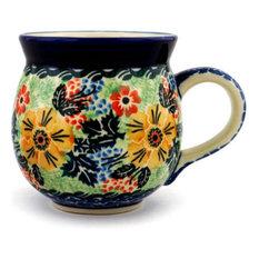Polish Pottery 12 oz. Stoneware Bubble Mug Hand-Decorated Design