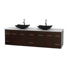 "Centra 80"" Espresso Double Vanity, White Man-Made Stone Top, Black Granite Sinks"