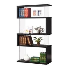 Bowery Hill Asymemtrical Snaking Bookshelf, Black