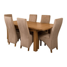 Seattle Oak Extending Dining Table With 6 Lola Chairs, Beige Velvet Effect