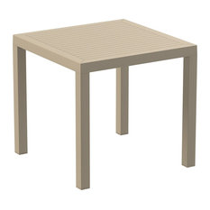"""Ares Resin Square Dining Table, Taupe 31"""""""