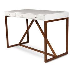 Uniek   Kaya 2 Toned Wood Writing Desk With 3 Drawers, White And Walnut