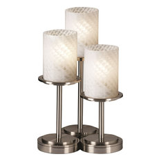 Fusion - Dakota Table Lamp - Brushed Nickel, Weave Artisan Glass Cylinder with F
