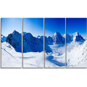 Blue Winter Hills Panorama Landscape Canvas Art Print 48 X28 4 Panels Contemporary Prints And Posters By Design Art Usa