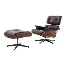 Manhattan Home Design   Midcentury Modern Lounge Chair And Ottoman, Brown,  Palisander, Aniline