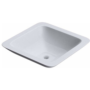 Counter Top Mount Stone Basin With White Finish, No Tap Hole, Modern Design