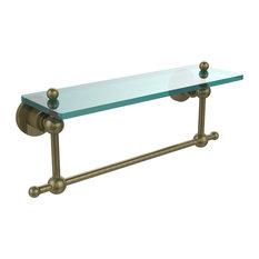 16x5 Glass Shelf With Towel Bar, Antique Brass