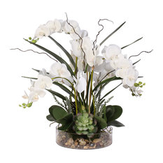 Real Touch White Phalaenopsis Orchid with Succulents and Rocks in a Glass Pot