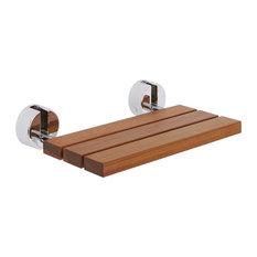 Hudson Reed   Bengal Teak Folding Shower Seat With Chrome Brackets   Shower  Benches U0026 Seats