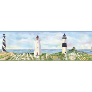 Barnstable Blue Seaside Cottage Border Wallpaper Beach Style Wallpaper By Brewster Home Fashions