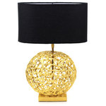 Peetal New York - Sphere Table Lamp - This one of a kind table lamp, is truly a work of art for any room. Hand made from brass, when lit the brass work texture on the sphere reflects the light making the sphere sparkle like a jewel. The seemingly random pattern of the lamp is inspired by the pandemonium in the murky waters of the pond, where the lotus blossoms as a pure and beautiful flower.