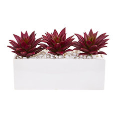 """8"""" Triple Agave Succulent Artificial Plant in White Vase"""