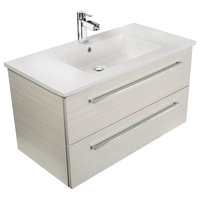 Silhouette 2-Drawer Wall-Mounted Vanity, White Chocolate, 36""