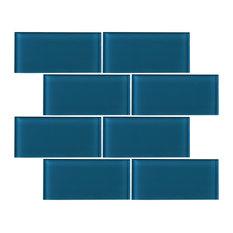 "3""x6"" Baker Glass Subway Tiles, Set of 8, Turquoise"