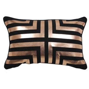 Inna Metallic Cushion Cover, Black and Rose
