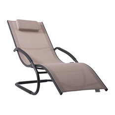 Wave Outdoor Lounger, Macchiato and Matte Grey