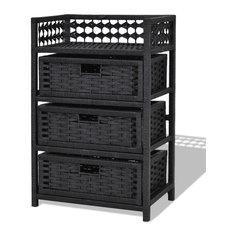 Modern 3-Drawers Wicker Baskets Storage Chest Rack, Black