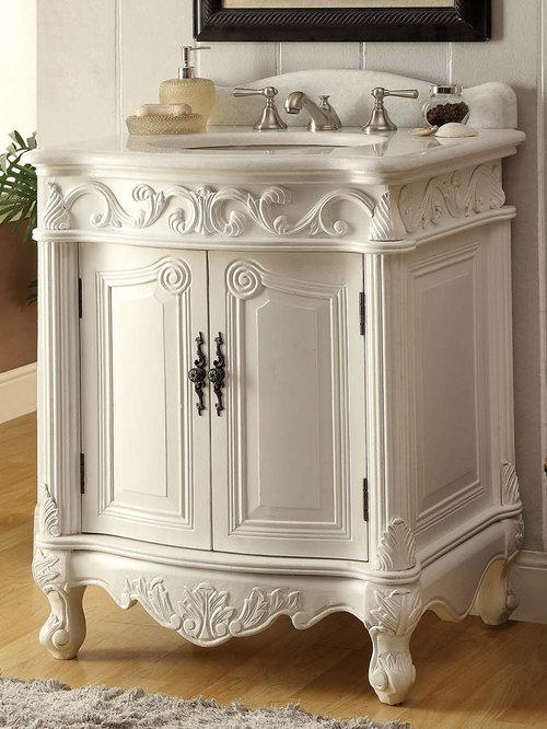 27 Inch Antique Bathroom Vanity White Finish   Bathroom Vanities And Sink  Consoles