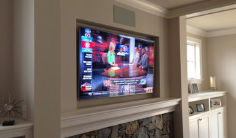 Recessed LED TV over fireplace & surround system