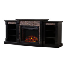 Freidrich Faux Stone Electric Fireplace With Bookcases