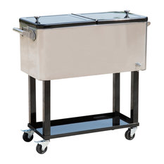 HomCom 80 QT Rolling Ice Chest Portable Patio Drink Cooler Cart, Stainless Steel