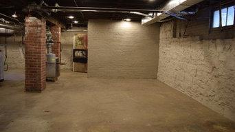 Wood Plank Concrete Overlay for Basement Floor