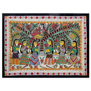 Krishna Charms Gopies Madhubani Painting