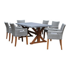 7-Piece Dining Table With Composite Concrete Top and Light Gray Chairs