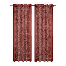 Bandhini Drapery Curtain Panels, Brick Red