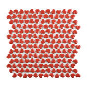 "11.13""x11.38"" Corazon Glossy Ceramic Mosaic Floor/Wall Tile, Red"