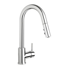 Keeney Slim Single Handle Pull-Down Kitchen Faucet, Polished Chrome
