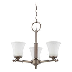 Nuvo Teller 3-Light Aged Pewter and Frosted Etched Glass Chandelier